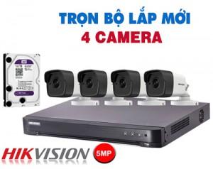 Lắp đặt 4 Camera quan sát siêu nét HD 5MP giá rẻ